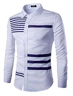 Bomull Blå / Hvit / Sort Medium Langermet,Opprett krage Skjorte Fargeblokk Vår Enkel / Chinoiserie Formelle / Arbeid Herre