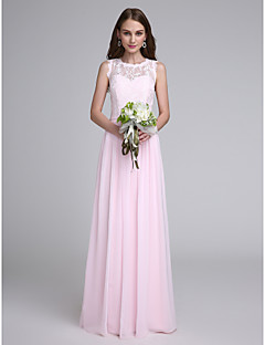 2017 Lanting Bride® Floor-length Chiffon / Lace Bridesmaid Dress - Jewel with Lace