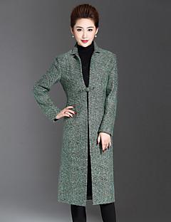 Krave Langærmet Dame Grøn Ensfarvet Vinter Simpel Casual/hverdag / Plusstørrelser Frakke,Uld / Akryl / Polyester / Andet