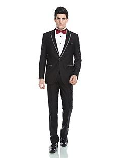 Tuxedos Tailored Fit Notch Single Breasted One-button Viscose/ Wool & Polyester Blended Solid 2 Pieces Black