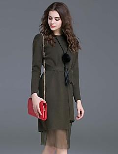 Damen Etuikleid Kleid-Lässig/Alltäglich Einfach Solide Rundhalsausschnitt Knielang Langarm Grün Wolle Herbst Mittlere Hüfthöhe