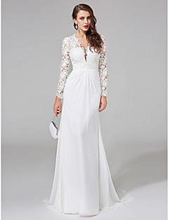 LAN TING BRIDE Sheath / Column Wedding Dress See-Through Sweep / Brush Train V-neck Chiffon Lace with Button Lace