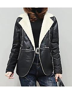 Kadın Orta Akrilik Uzun KolluSiyah Kış Solid Sade Günlük/Sade-Kadın Ceketler