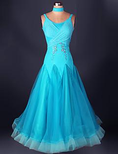 볼륨 댄스 드레스 성능 스판덱스 오르간자 드레이프 레이스 1개 민소매 높음 드레스 S-XXXL: 120-130