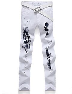 Herre Rett Store størrelser Jeans Bukser-Fritid/hverdag Vintage / Gatemote Trykt mønster Lapper Mellomhøyt liv Glidelås Bomull