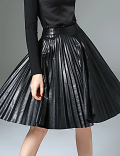 Women's A Line Solid Pleated Skirts,Going out / Casual/Daily / Work Simple / Street chic / Punk & Gothic Mid Rise Knee-length Zipper PU