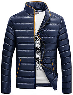 Men's Regular Padded Coat,Simple / Tops Casual / Plus Size / Casual/Daily Solid-Polyester Polyester Long Sleeve Hooded Blue / Black / Gray