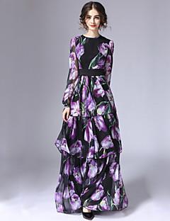 여성 칼집 드레스 캐쥬얼/데일리 빈티지 플로럴,라운드 넥 맥시 긴 소매 퍼플 면 / 폴리에스테르 겨울 높은 밑위 신축성 없음 얇음