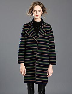 INPLUS LADY Women's Casual/Daily Simple Fall / Winter BlazerStriped Shawl Lapel Long Sleeve Green Rayon / Acrylic