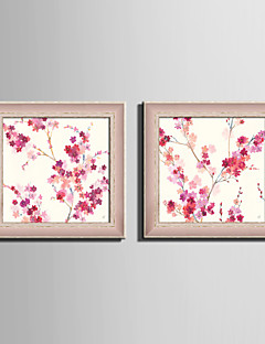 E-HOME® Framed Canvas Art Blooming Pink Flowers Framed Canvas Print Set Of 2