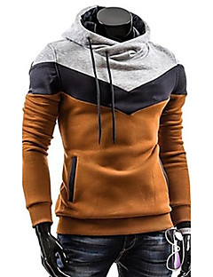 Men's Plus Size Color Block Sport Casual Hoodie, Gray Brown Blue Black