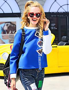 בינוני (מדיום) סתיו / חורף חוטי זהורית שרוול ארוך צווארון עגול כחול רקמה פשוטה ליציאה / יום יומי\קז'ואל / חג Hoodies רגיל נשים מיקרו-אלסטי