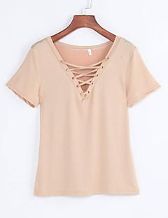 Vrouwen Eenvoudig Zomer T-shirt,Casual/Dagelijks Effen V-hals Korte mouw Wit / Zwart / Bruin Rayon Medium