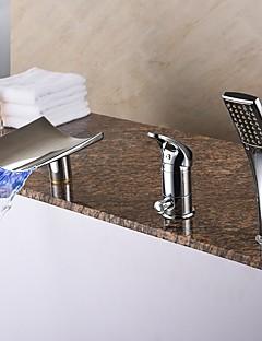 Moderne Romersk Kar LED / Vandfald / Håndbruser inkluderet with  Keramik Ventil Enkelt håndtag tre huller for  Krom , Badekarshaner