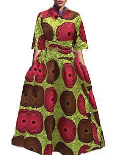 Formális Vintage Állógallér-Női Készlet Szoknya Ruhák,Nyomtatott Őszi / Téli Fél hosszú ujjú Piros / Zöld Poliészter Nem átlátszó