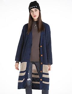 Damen Lang Strickjacke-Lässig/Alltäglich Niedlich Solide Blau Braun Grün Rundhalsausschnitt Langarm Wolle Winter Mittel Mikro-elastisch