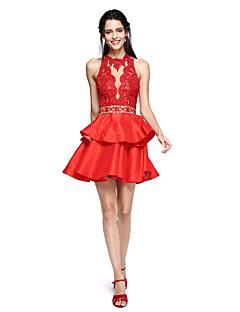 TS Couture מסיבת קוקטייל נשף שמלה - גב יפהפייה נשף צווארון גבוה קצר \ מיני תחרה טפטה עם חרוזים פרנזים