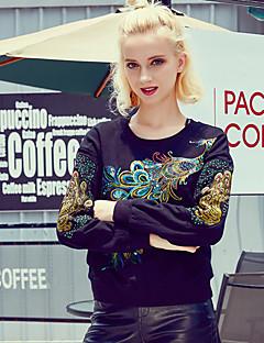 Damen Pullover Lässig/Alltäglich Ausgehen Einfach Stickerei Rundhalsausschnitt Mikro-elastisch Baumwolle Langarm Herbst Winter