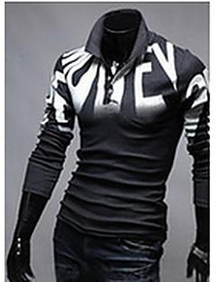 Masculino Polo Casual Simples Primavera / Outono,Geométrica Branco / Cinza Algodão Colarinho de Camisa Manga Longa Média