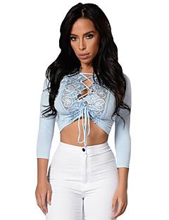 Women's Crochet Lace Trim Lace Up Front Crop Top