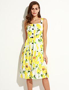 Dámské Sofistikované Běžné/Denní A Line Šaty Květinový,Bez rukávů Ramínka Midi Žlutá Polyester Léto