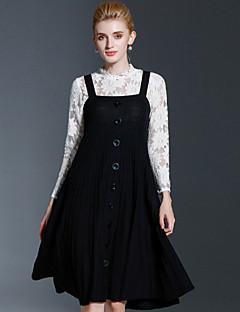 FRMZ   Women's Casual/Daily Vintage / Simple Swing DressSolid Strap Knee-length / Above Knee Sleeveless Black Rayon / Nylon Fall / WinterMid