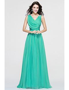 עד הריצפה צווארון וי שמלה לשושבינה - אלגנטי ללא שרוולים שיפון