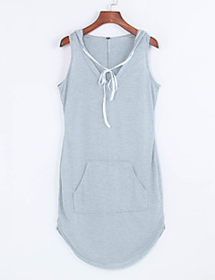 Women's Simple / Active Solid Racerback Sexy Slim Deep V Fashion Casual Sheath Dress,Hooded Mini
