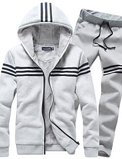 Herre Casual/hverdag / Sport Plusstørrelser Activewear Set Ensfarvet Rund hals Uelastisk Bomuld Langærmet Efterår / Vinter