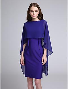 2017 לנטינג bride® שמלת השושבינה באורך הברך שיפון / ג'רזי - נדן / טור Bateau עם