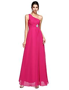 A-Şekilli Tek Omuz Yere Kadar Şifon Resmi Akşam Elbise ile Boncuklama Yan Drape Dantelalar tarafından TS Couture®