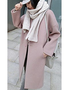 Langærmet Dame Rosa Ensfarvet Simpel Casual/hverdag Frakke,Polyester