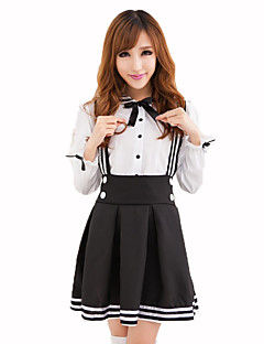 Cosplay Costumes Maid Costumes Career Costumes Festival/Holiday Halloween Costumes Black and White Solid Top Skirt Halloween Christmas