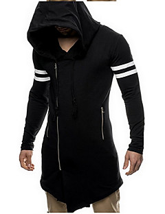 Men's Casual/Daily Going out Active Simple Hoodie Jacket Solid Striped Micro-elastic Cotton Long Sleeve Spring Fall