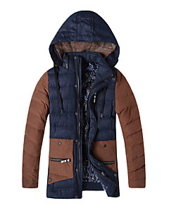 Men's Regular Padded Coat,Simple Casual / Casual/Daily Solid / Color Block-Cotton / Polyester Cotton Long Sleeve HoodedBlue / Brown /