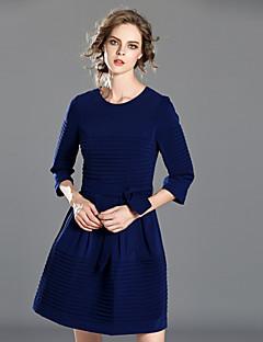 Damen Hülle Kleid-Lässig/Alltäglich Einfach Solide Rundhalsausschnitt Übers Knie ½ Länge Ärmel Blau Polyester Herbst / WinterHohe