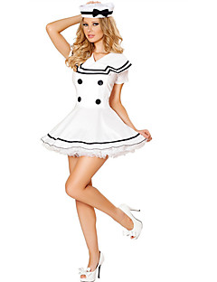 Cosplay Costumes Pirate / Cosplay Movie Cosplay White Solid Dress / Hat Halloween / Carnival Female Polyester