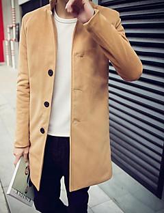 Men's Casual/Daily Simple Coat,Solid Standing Collar Long Sleeve All Seasons Blue / Black / Brown Faux Fur Medium