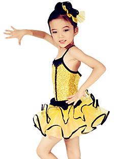 Danse classique Robes Enfant Spectacle Elasthanne Polyester Organza PaillétéVolants Ruchés plongeants Ceinture/Ruban Robe pan volant Bloc