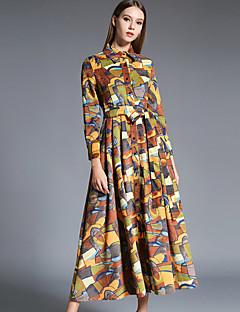 Kadın Günlük/Sade Sofistike Çan Elbise Desen,Uzun Kollu Gömlek Yaka Midi Kahverengi Akrilik / Polyester Sonbahar Normal Bel Esnemez Orta