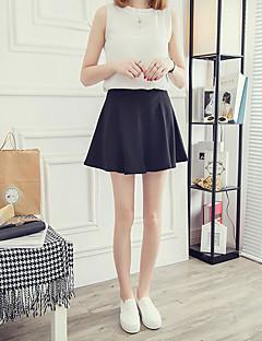 A-linje Nederdele-Dame Plus Størrelser EnsfarvetEnkel Højtaljede Casual/hverdag Over Knæet Elasticitet Bomuld Mikroelastisk Efterår