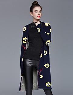 Casual/hétköznapi Egyszerű Őszi / Téli-Női Kabát,Nyomtatott V-alakú Hosszú ujj Kék Műselyem