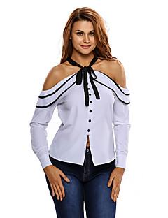 Women's Contrast Bow Tie White Cold Shoulder Blouse