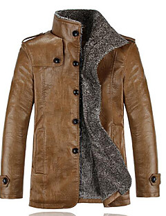 Men's Plus Size / Casual/Daily Simple Jackets,Solid Long Sleeve Black / Brown Others