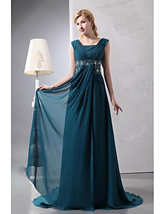 A-line Mother of the Bride Dress - Elegant Floor-length Sleeveless Chiffon with Beading