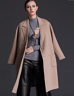 Casual/hétköznapi Egyszerű Őszi / Téli-Női Kabát,Egyszínű Hasított rever Hosszú ujj Piros / Barna Gyapjú Közepes vastagságú
