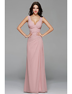 Floor-length Chiffon Sexy Bridesmaid Dress - A-line V-neck with Draping / Side Draping