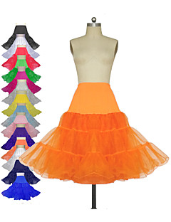Slips Knee-Length 3 Tulle Netting Polyester Lycra White Black Red Ivory Blue Purple Green Pink Yellow Orange Silver As Picture