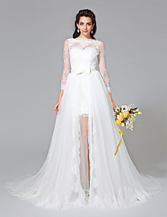 Lanting Bride® גזרת A שמלת כלה  - שיק ומודרני שני חלקים שובל קורט סירה תחרה / טול עם סרט / פפיון / כפתור