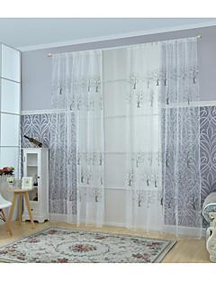 ワンパネル ウィンドウトリートメント 現代風 リビングルーム ポリ/コットン混 材料 シアーカーテンシェード ホームデコレーション For 窓